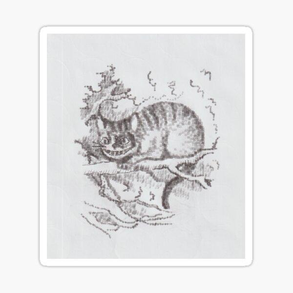 Typewriter Art Grinning Cat Sitting in a Tree  Sticker