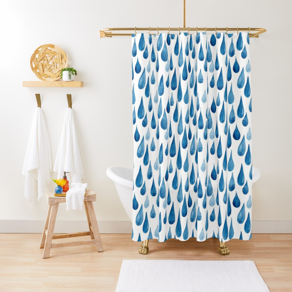 Watercolor rain drops Shower Curtain