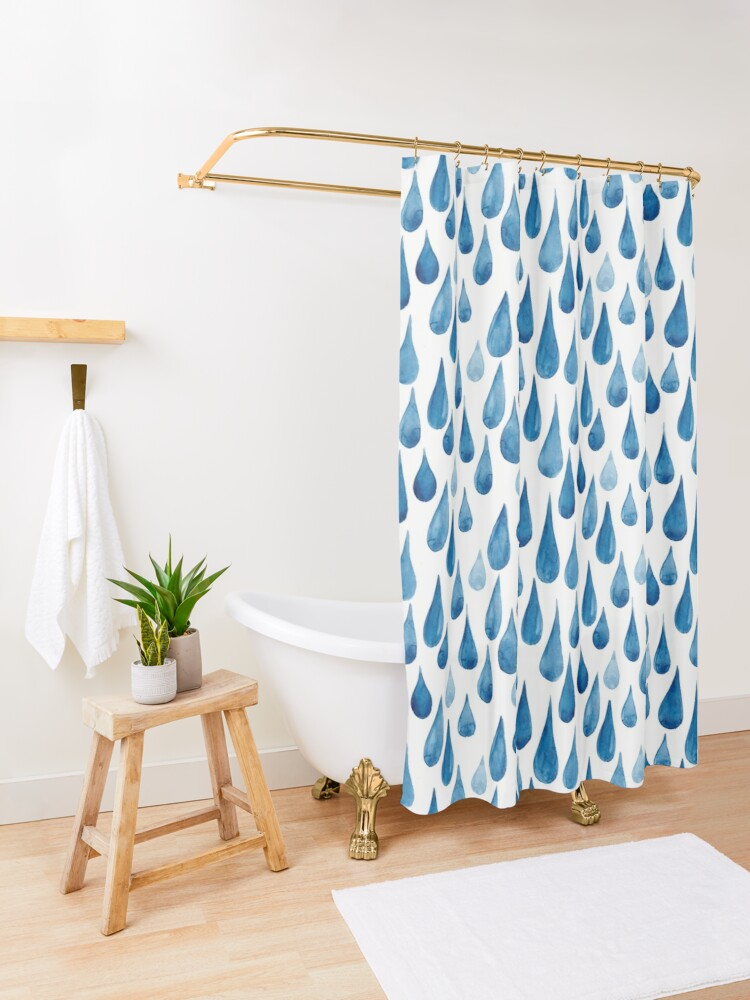 Alternate view of Watercolor rain drops Shower Curtain