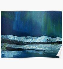Northern Lights over the Canadian Rockies Foothills Poster