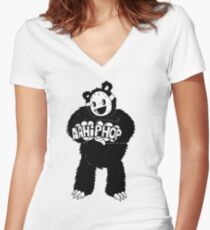 AAHIPHOP Love/Hate Bear Women's Fitted V-Neck T-Shirt