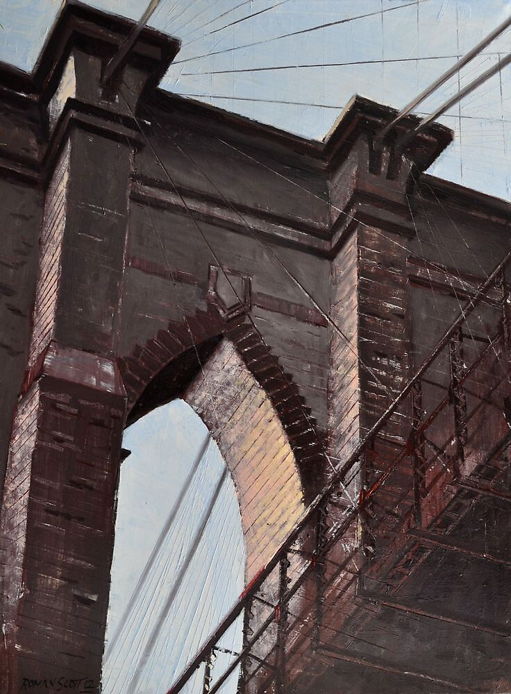 Brooklyn Bridge, Stone and Iron by Roman Scott