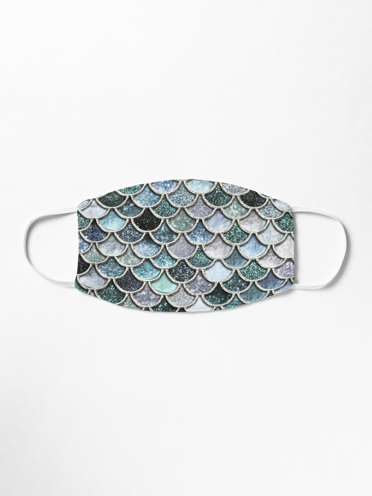 Alternate view of Teal, Silver and Green Sparkle Faux Glitter Mermaid Scales Mask