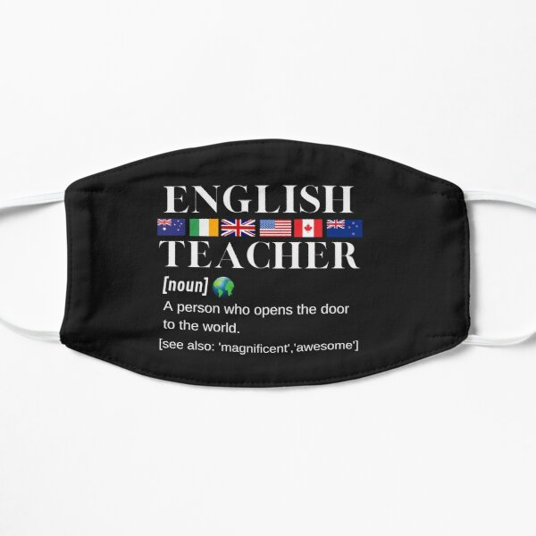 English Teacher Flags, World and Definition White Writing Flat Mask