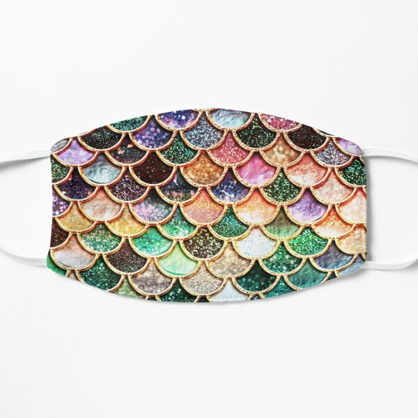 Copper Green Gold and Pink Sparkle Faux Glitter Mermaid Scales Mask