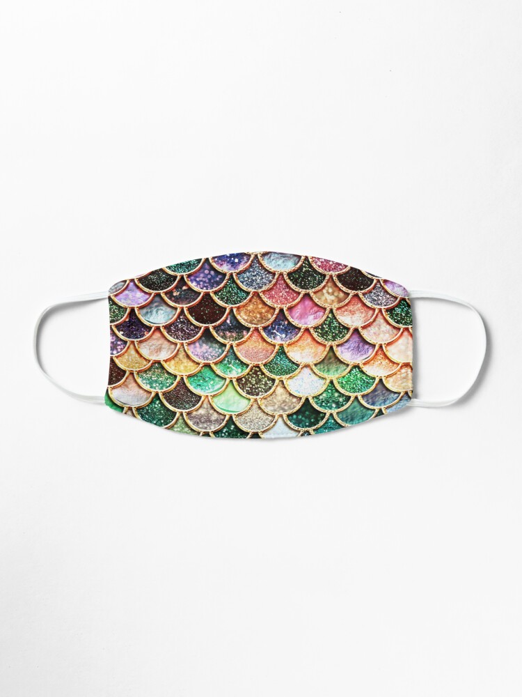 Alternate view of Copper Green Gold and Pink Sparkle Faux Glitter Mermaid Scales Mask