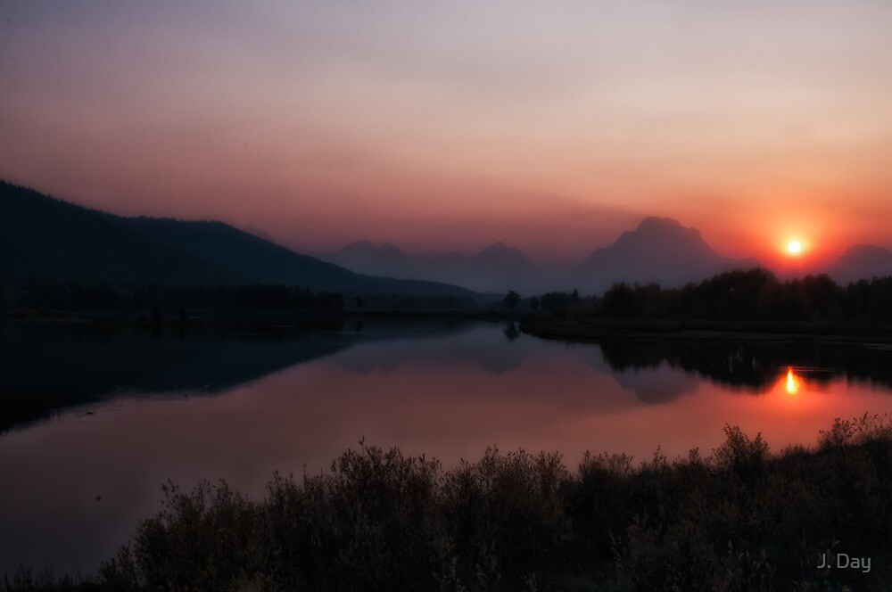 Oxbow Bend at Sunset by J. Day