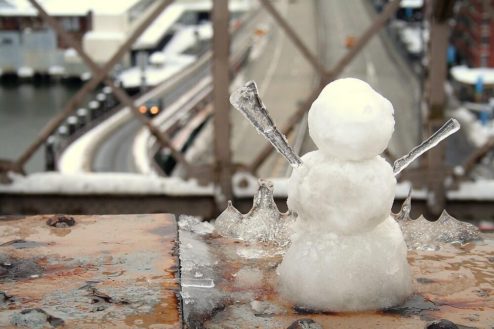 Snow Ice man on bridge by liptonmania