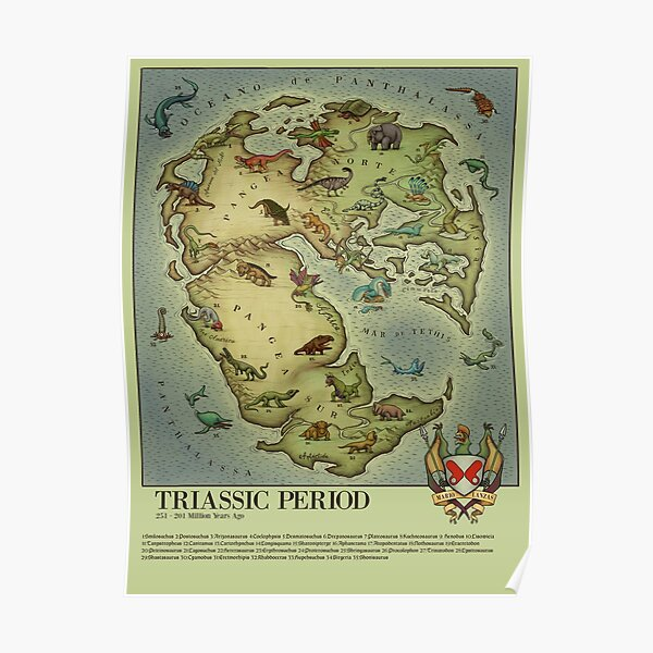 Mapa Periodo TRIÁSICO (bestiario medieval) estilo vintage. Pangea Póster