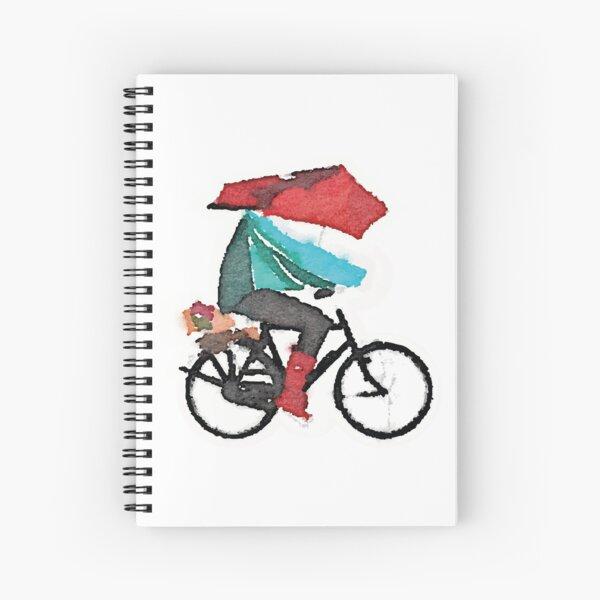 Watercolour Red Storm Umbrella Bike Spiral Notebook