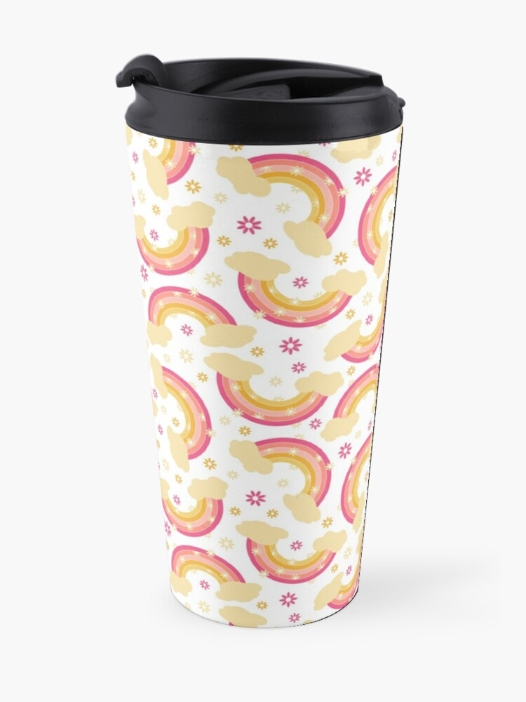 Alternate view of Pink rainbow with flowers Travel Mug