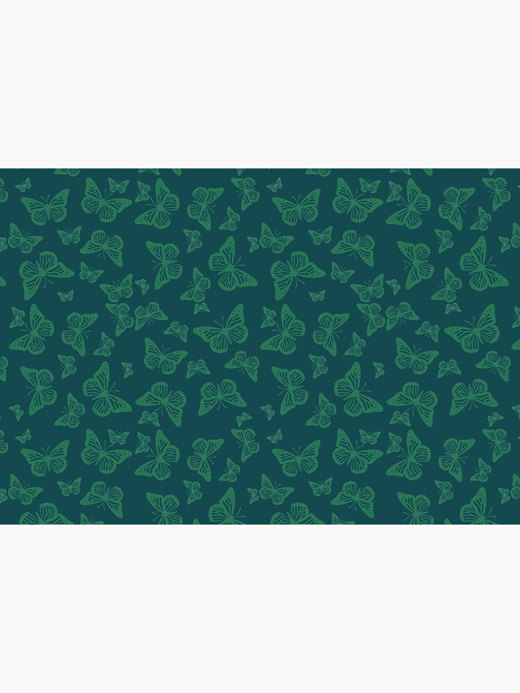 Dark Green Monarch Butterflies Silhouette Pattern by RootSquare