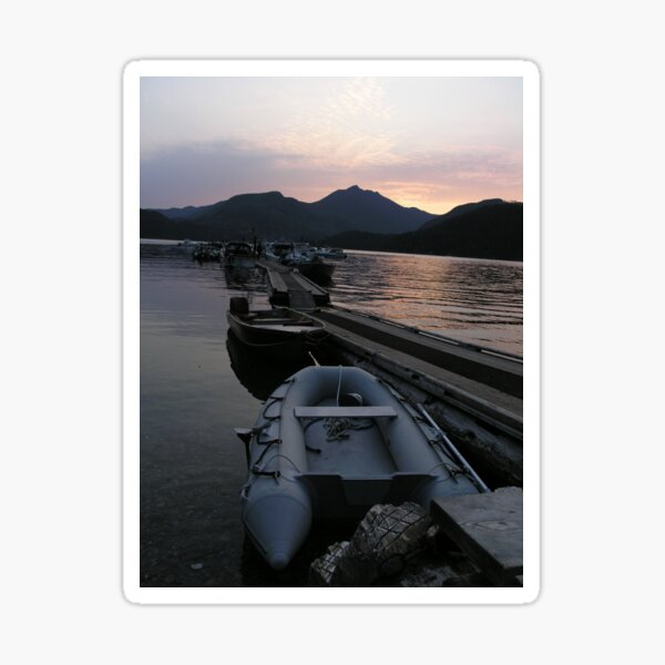 Nootka Sound - Sunset with reflection and boats Sticker