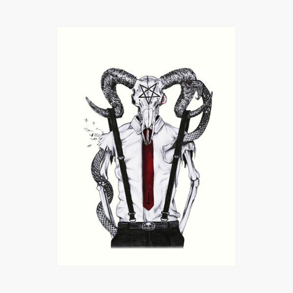Goat skull with snake - No.1 Art Print