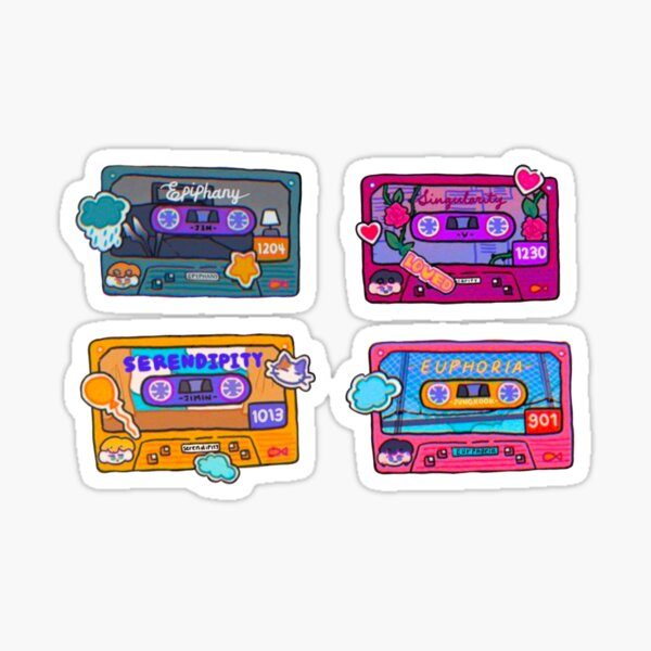 BTS solos casette tape flower stickers PT 1 Sticker