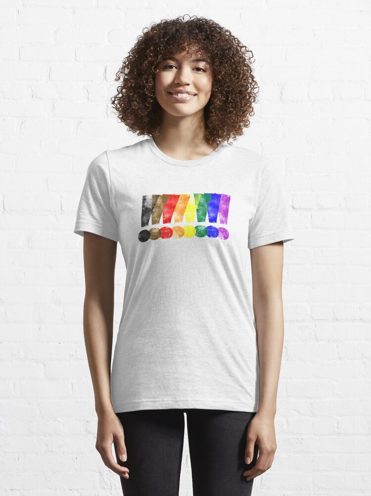 Alternate view of Distressed Philly LGBTQ Pride Whee! Exclamation Points Essential T-Shirt