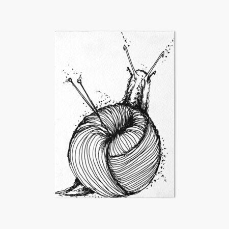 Knitting snail Art Board Print