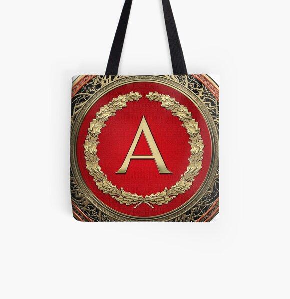 Tote Bag Vintage Monogramme Aa En Argent Sur Bouclier Noir Avec Couronne En Chene Argente Sur Toile Noire Par Captain7 Redbubble