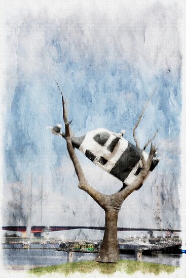 'Cow up a Tree'......Docklands by Lynda Heins