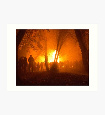 Bonfire through the Trees Art Print