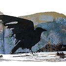 Something About Birds: Crow with White Feather by suangilmoreart
