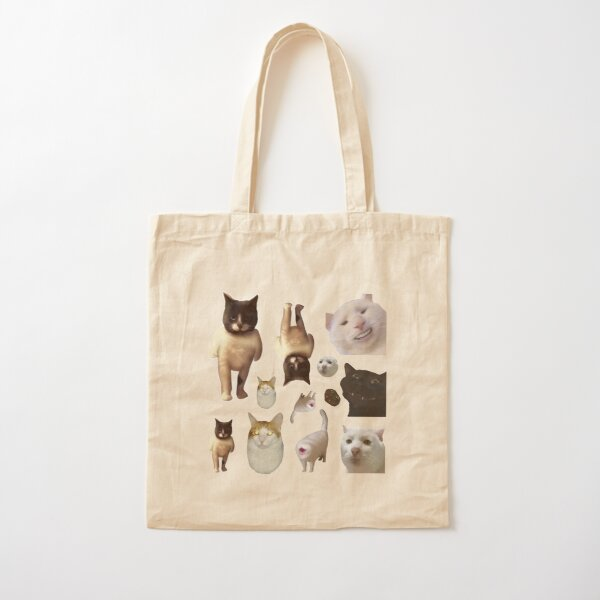 Pack of 12 Cat Memes Sticker Combo - MORE Obscure Cursed Cat Memes 2 Cotton Tote Bag