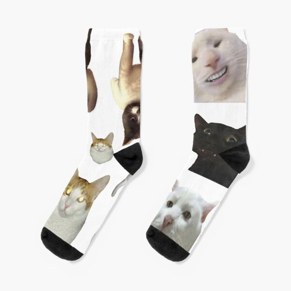 Pack of 12 Cat Memes Sticker Combo - MORE Obscure Cursed Cat Memes 2 Socks