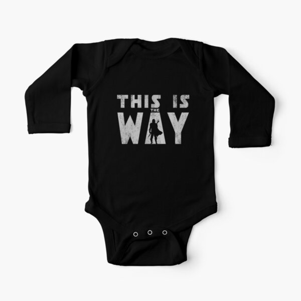 this is the way mando retro grey Long Sleeve Baby One-Piece