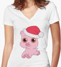 Christmas Pig Women's Fitted V-Neck T-Shirt