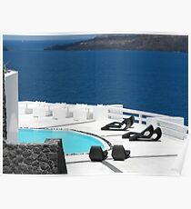 Santorini ocean: Greek Islands by the pool Poster