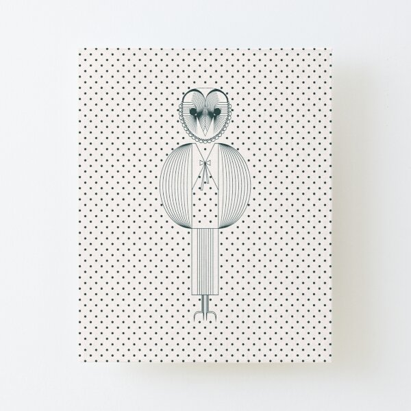 Evike I, the Owl, teal dots, Baby and Kids Collection Canvas Mounted Print