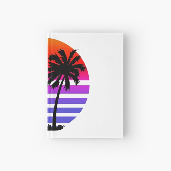 Retro Sunset Palm Trees Hardcover Journal
