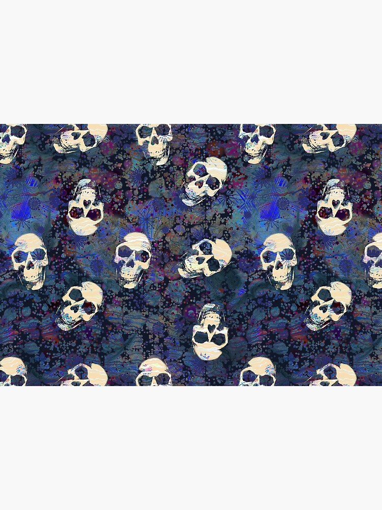 Blue and Black Grunge Weathered Old Human Skulls Pattern by RootSquare