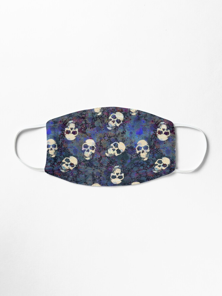 Alternate view of Blue and Black Grunge Weathered Old Human Skulls Pattern Mask