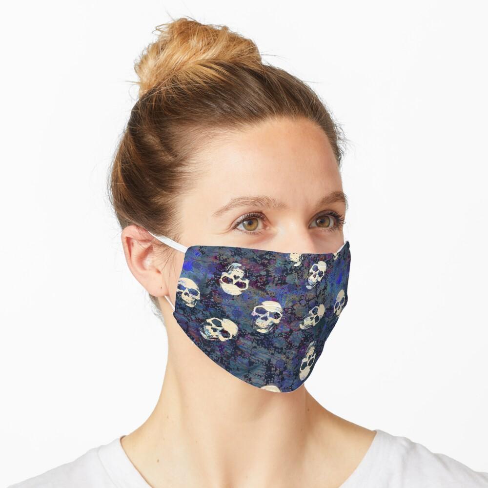 Blue and Black Grunge Weathered Old Human Skulls Pattern Mask