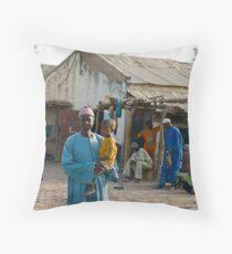 Senegal street scene Throw Pillow