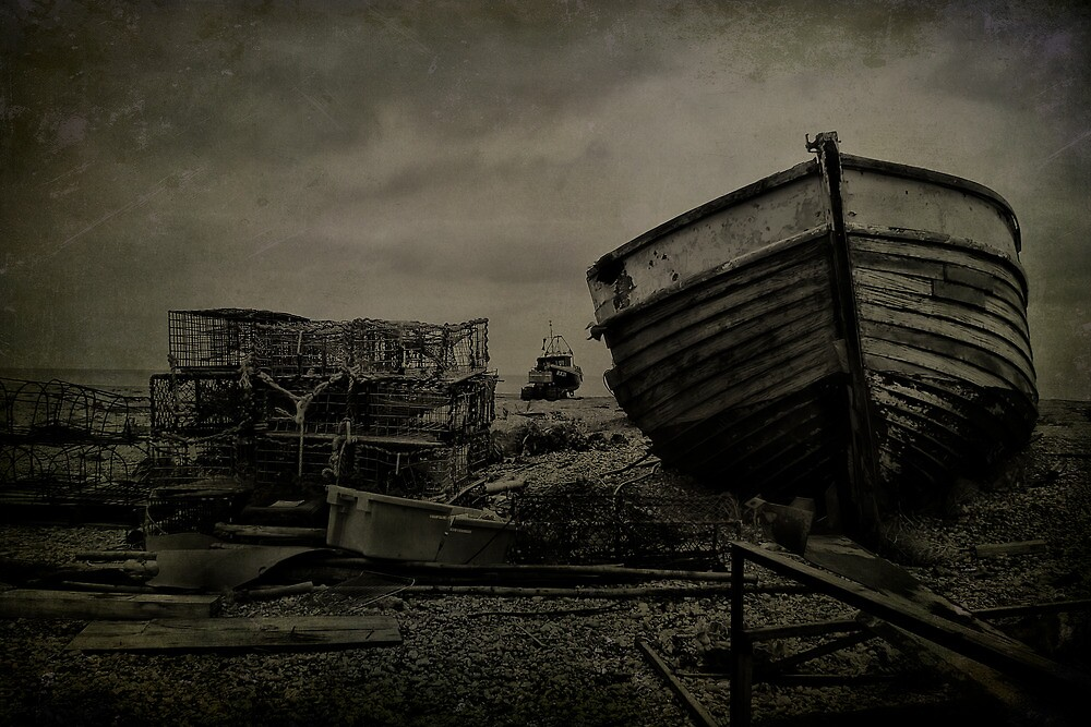 Boat Wreck And Pots by Dave Godden