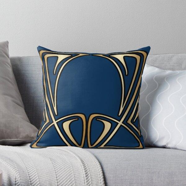 art nouveau, vintage, floral, belle époque, élégant, bleu, or, art déco, moderne, branché Coussin