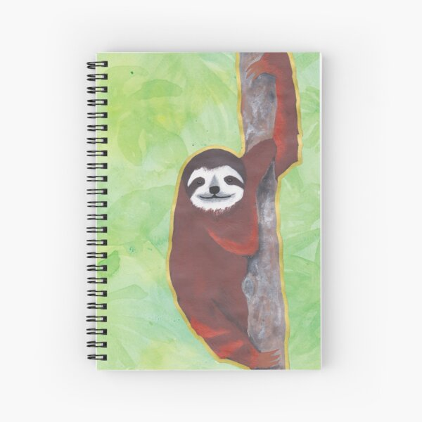 Sloth on Green Spiral Notebook