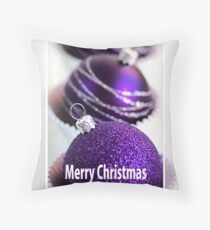 Merry Christmas - Purple Baubles Throw Pillow