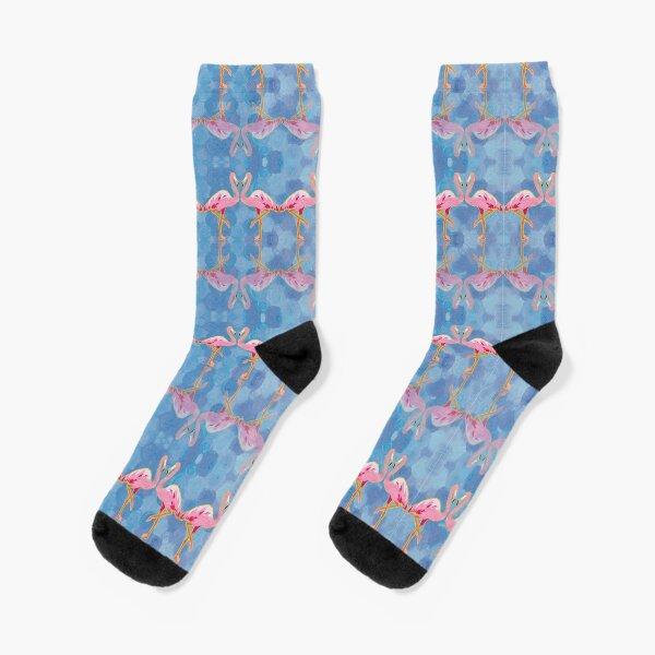 Flamingo on Blue Socks