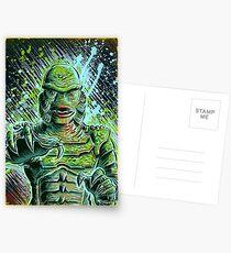Creature from the black lagoon art print halloween monster movie horror sci fi halloween christmas lake universal monsters film black and white joe badon Postcards