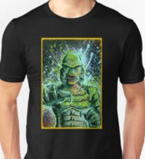 Creature from the black lagoon art print halloween monster movie horror sci fi halloween christmas lake universal monsters film black and white joe badon T-Shirt