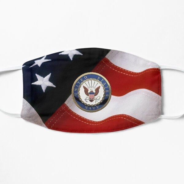 U.S. Navy - USN Emblem over American Flag Flat Mask