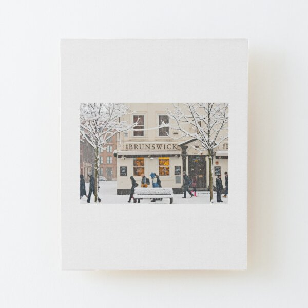 The Brunswick pub under the snow Wood Mounted Print