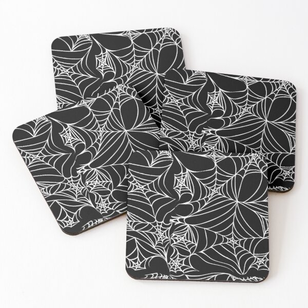 Halloween Spider Web mostly black pattern Coasters (Set of 4)