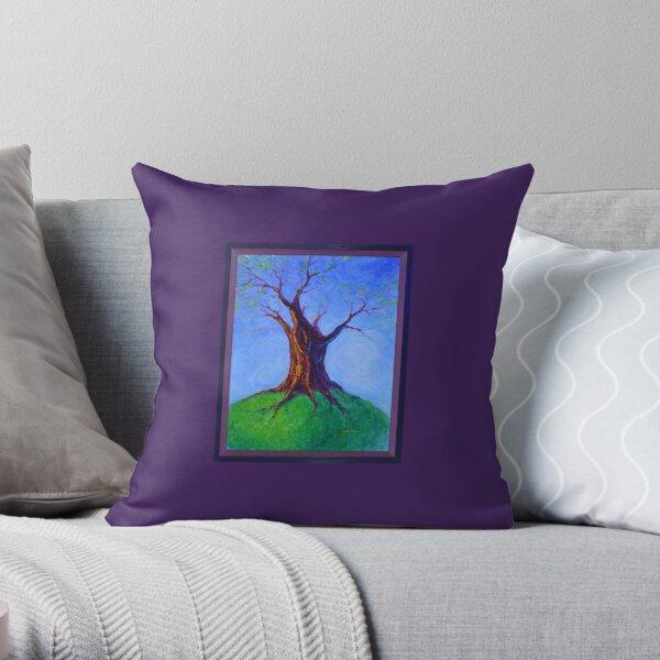Seasoned Optimism tree on hill Throw Pillow