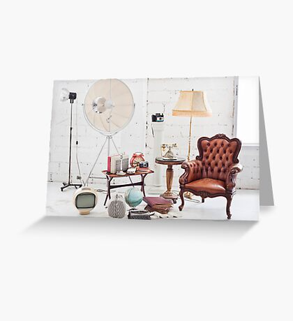 retro furniture and decoration in white room Greeting Card