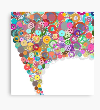 speech bubble design by gears and cogs Canvas Print