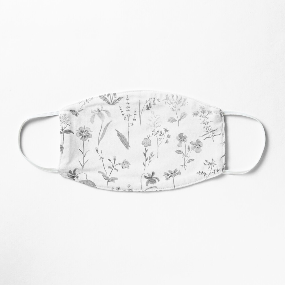 countryside wildflowers black and white Mask